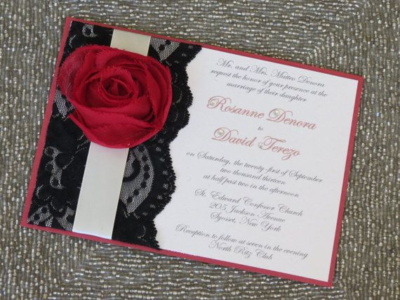 lexy red black and white wedding invitations customizable lace invitation