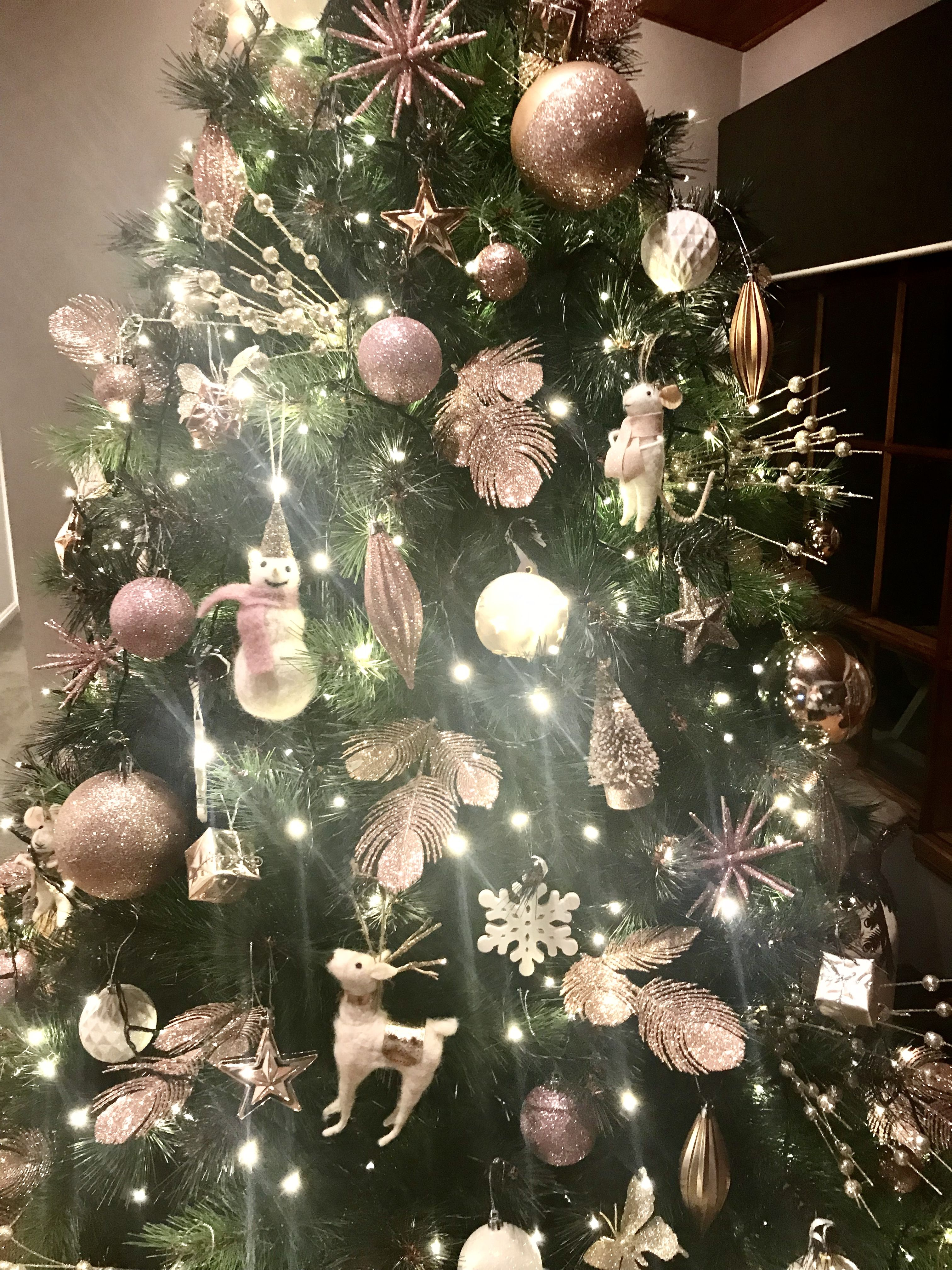 Pink Rose Gold Gold And White Christmas Tree Ornaments Mostly