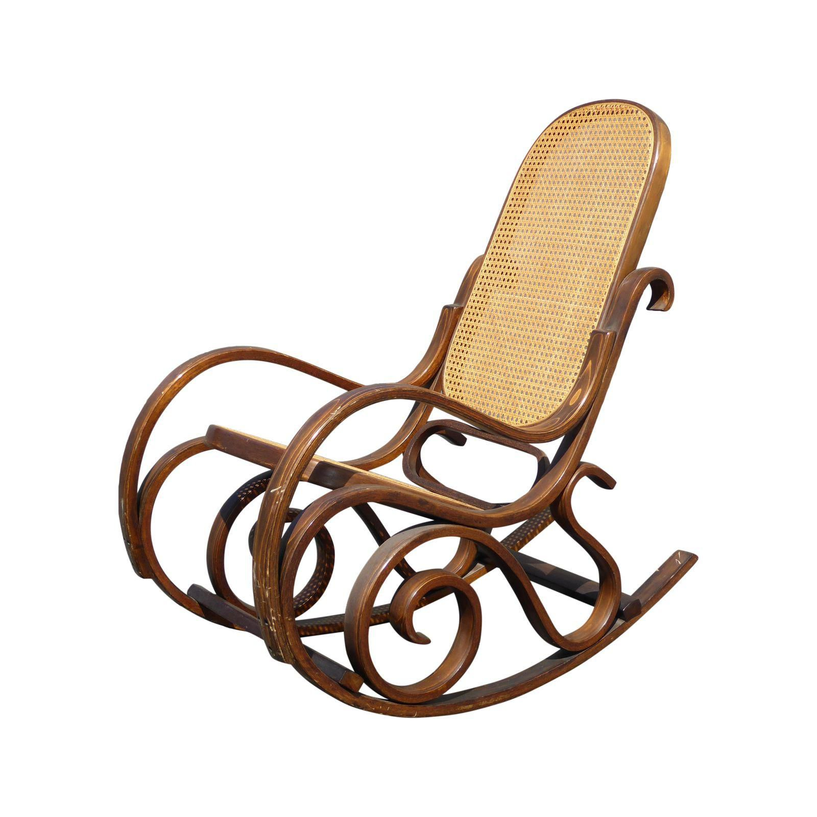 Good Bentwood Cane Back Rocking Chair In The Style Of Michael Thonet