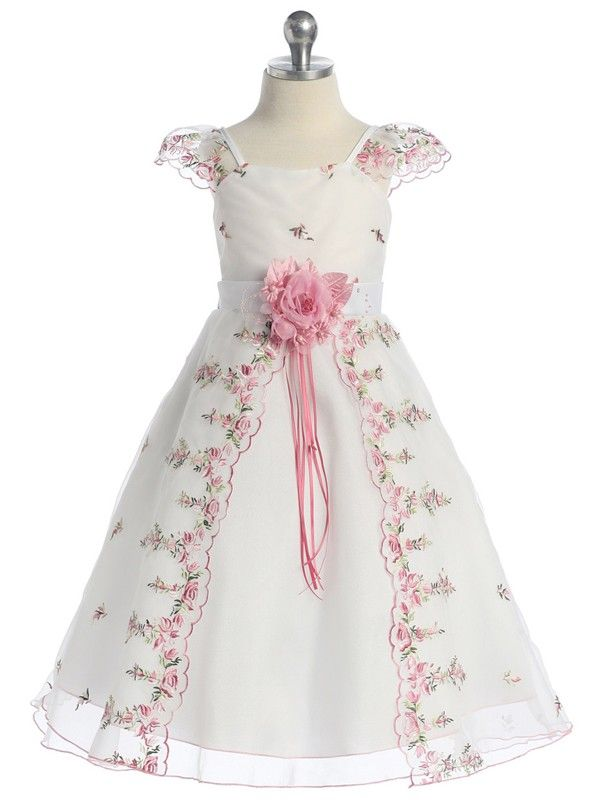 Pink Floral Embroidery Flower Girl Dress