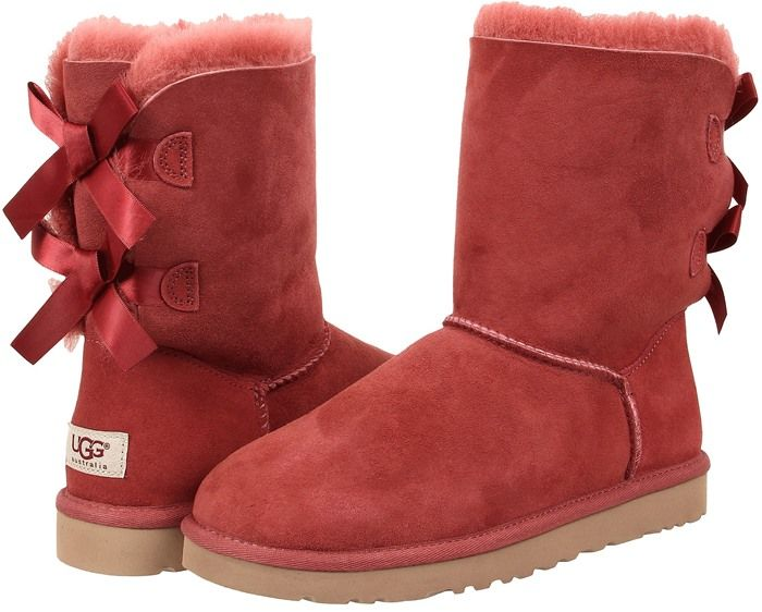 Womens Boots UGG Bailey Bow Redwood Twinface