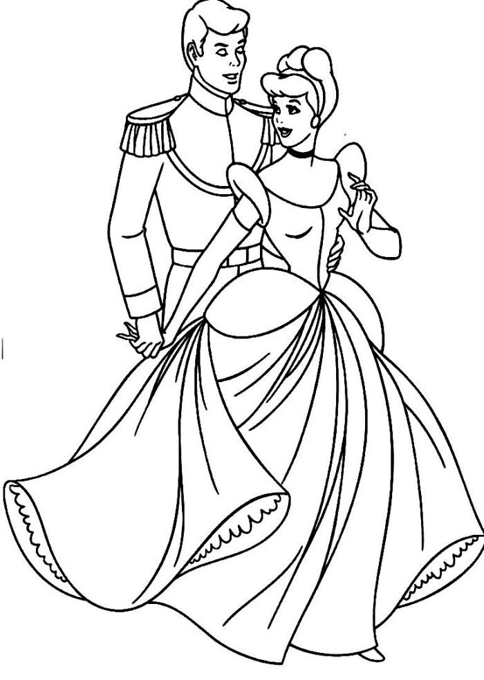 Cinderella Hold By The Prince Disney Coloring Pages