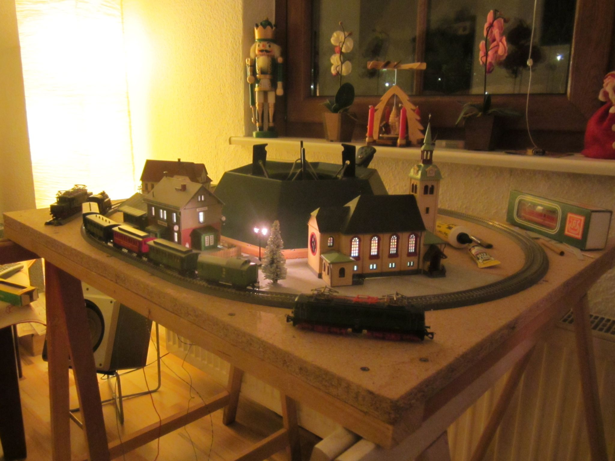 Christmas train in the construction