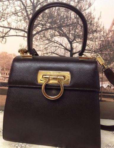 c358e988e7 Auth Salvatore Ferragamo Brown Gancini Kelly Bag Shoulderbag Handbag Purse