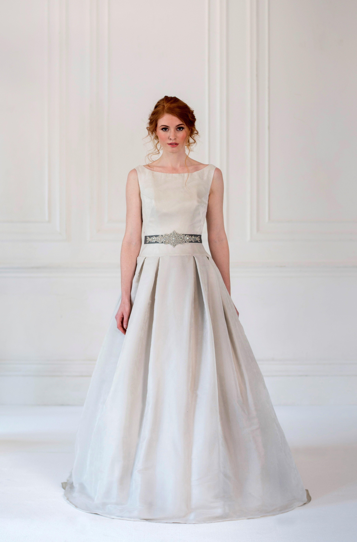 Hayley paige dori wedding dress  Juniperu  A dove grey wedding dress with subtle jacquard silk