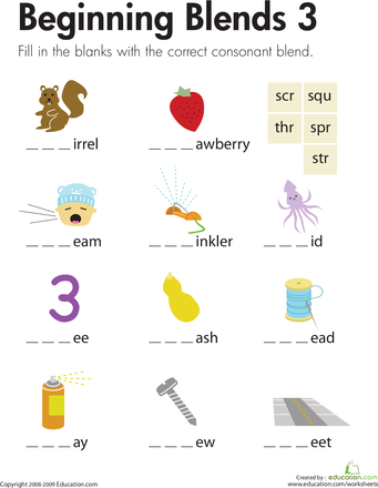 Beginning Blends Worksheets For Kindergarten