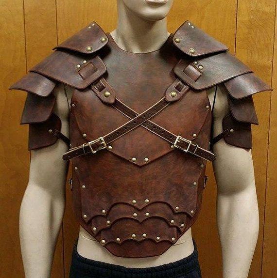 Double or single side Viking leather shoulder armor with optional battle damage