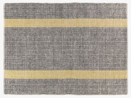 Brecan Grey Flat Weave Rug 170 X Habitatuk Hand Woven With Accents Of Bright Saffron Yellow Stripes Give This Wool Mix A Smart Look