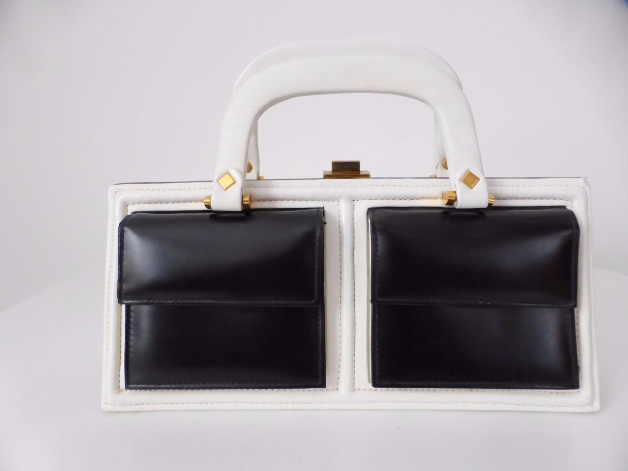 Hollywood Handbags Sydney Australia Vintage Black And White Leather Handbag Ebay