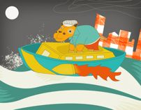 Hippo On Boat by Elli Chortara, via Behance