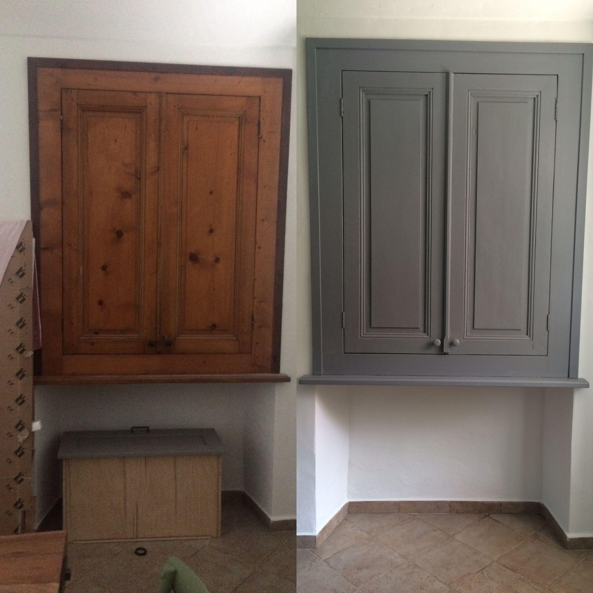 Armadio A Muro Per Cucina.Ante Armadio A Muro Cucina Prima E Dopo Tecnica Shabby Con Vernice