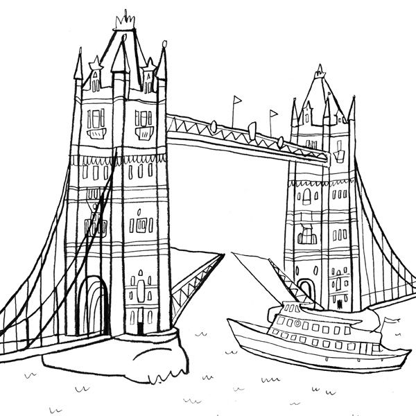 Tower Bridge By Nina Cosford London Illustration Coloring Books