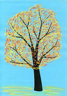 Bunter Herbstbaum Kreidezeichnung Baum Malen Und Basteln Pinterest