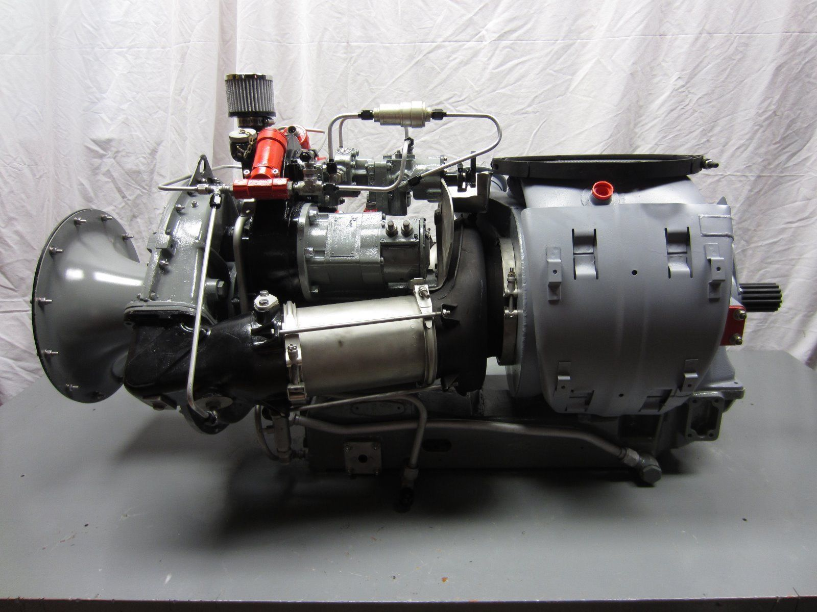 A vintage Boeing series 502 gas turbine engine with a Woodward