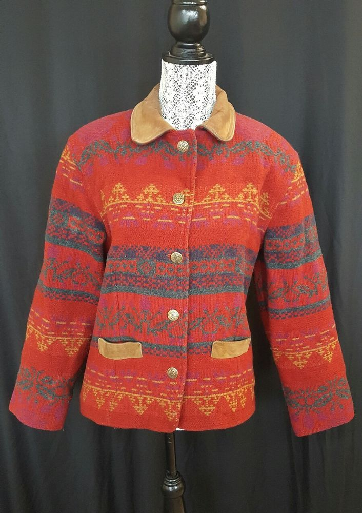 Details about WOOLRICH sz M Indian Blanket Long Wool Coat