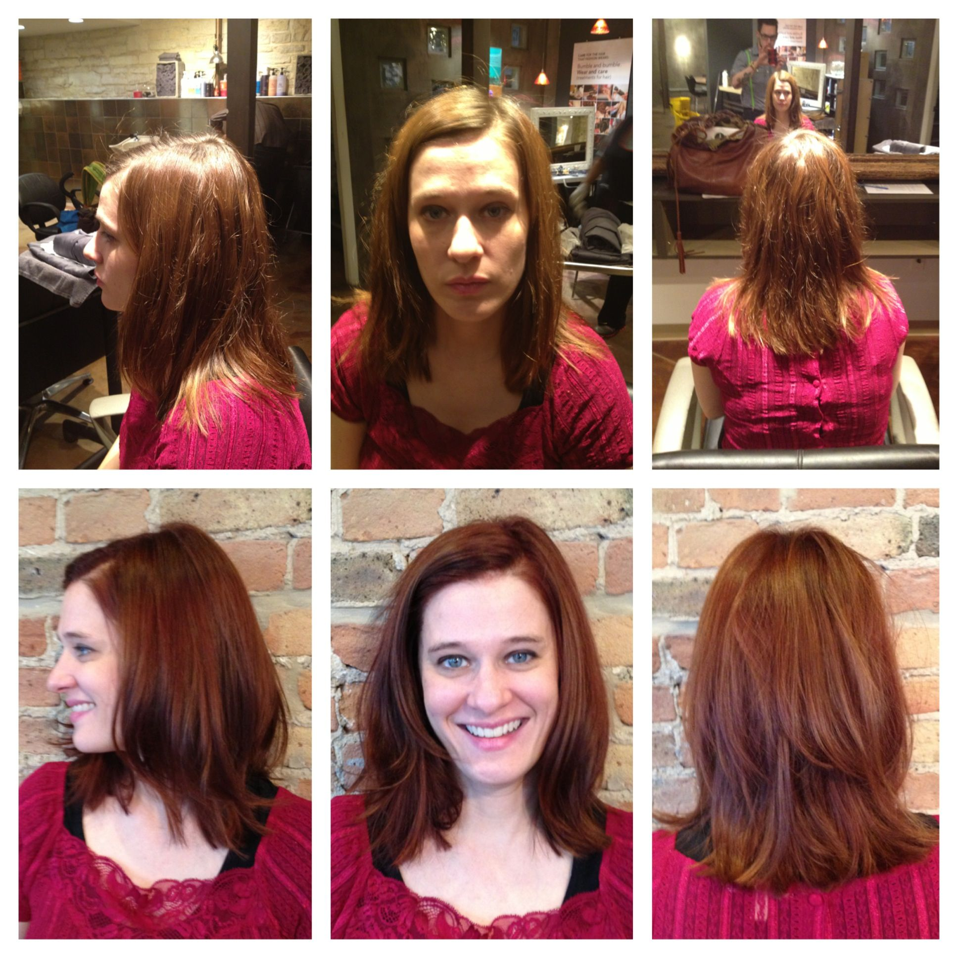 Marla wanted to be a bit more Mad Men so we decided on a rich red tone. Her base was colored with Koleston perfect 6/74 + 6/34 with 20vol. Her ends were then colored with 7/43 and random pieces were left out and toned with relights /43