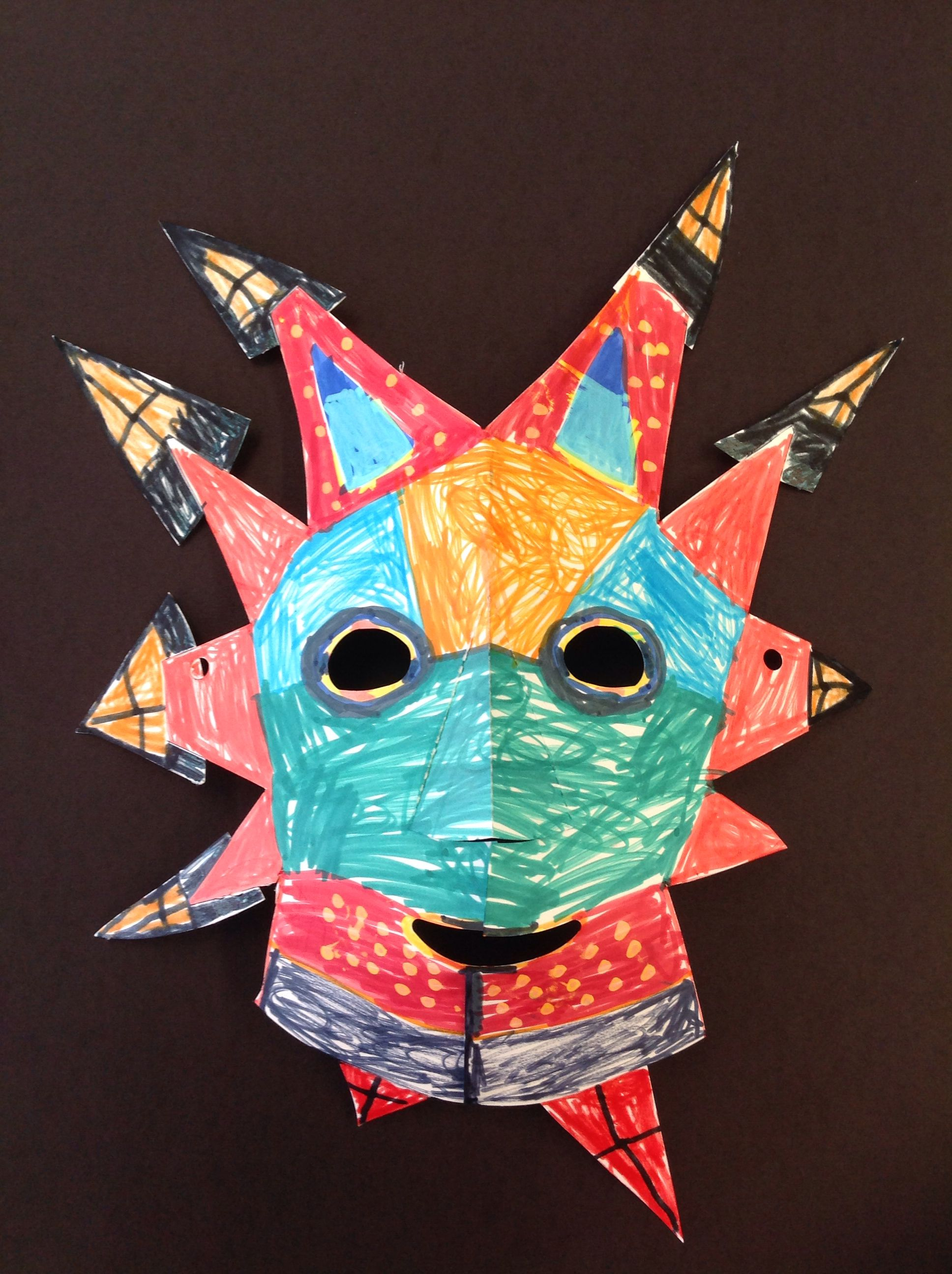 First Grade Vejigante Mask Art Teacher Stacey Rodriguez