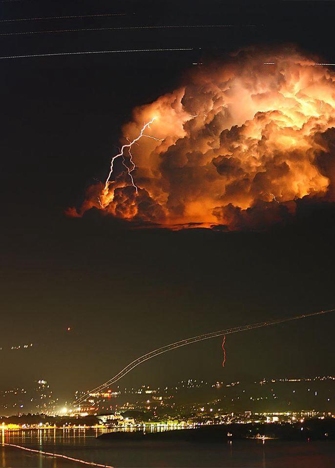 Startrails and Lightning over Greece