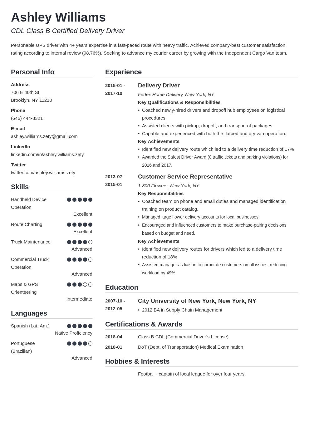 Delivery Driver Resume Example Template Simple Resume Examples Job Resume Examples Resume Layout