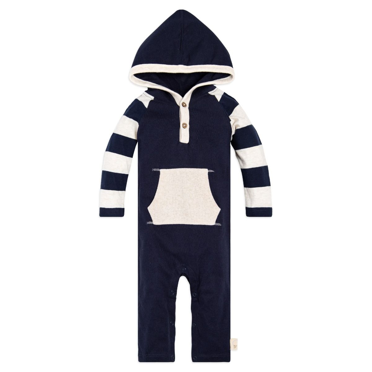 edb3c7f0e Baby Rugby Stripe Hooded Organic One Piece Jumpsuit