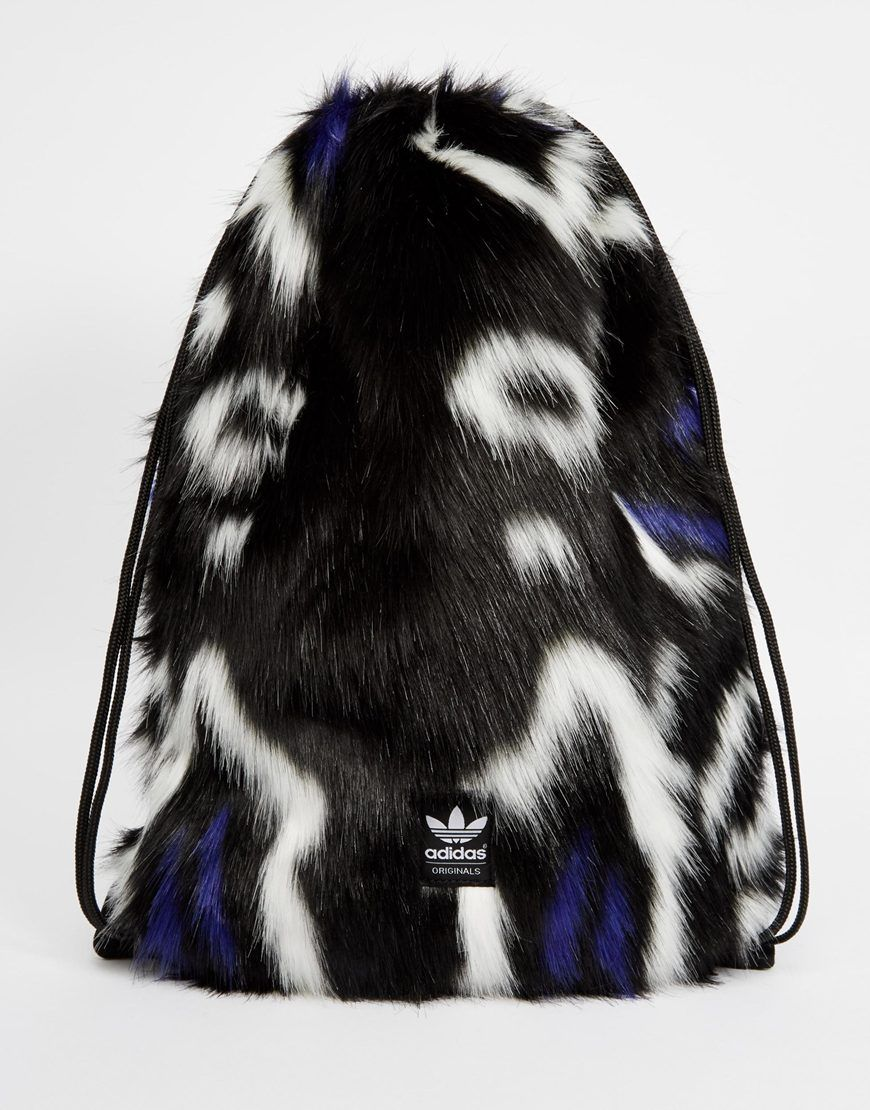 Image 1 of adidas Originals Faux Fur Drawstring Backpack | magick ...
