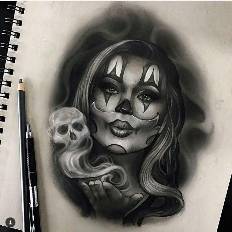 Clown girl by joegentiletattoo tattoo designe for Chicano clown girl tattoos