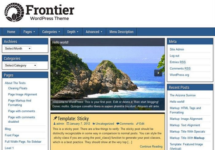 Frontier Theme — Free WordPress Themes Download | Themes free ...
