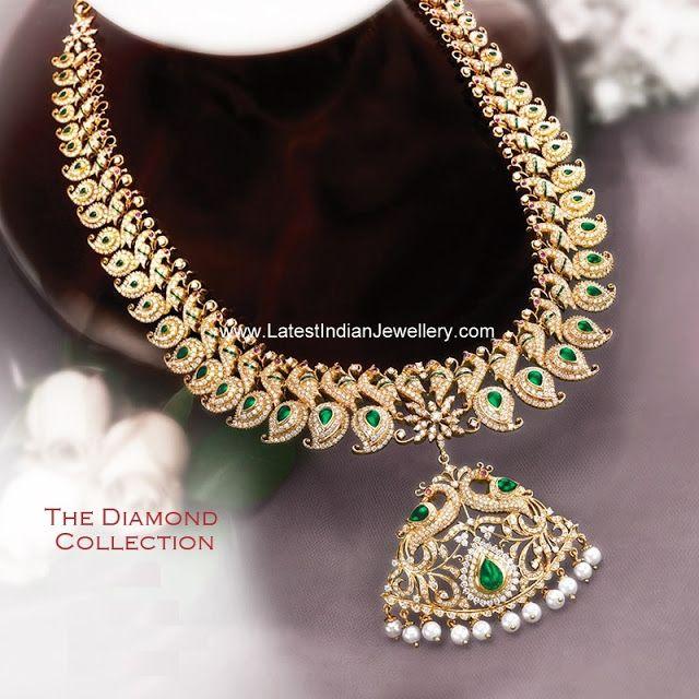 Bridal Diamond Necklace And Haram Set: GRT Diamond Mango Haram