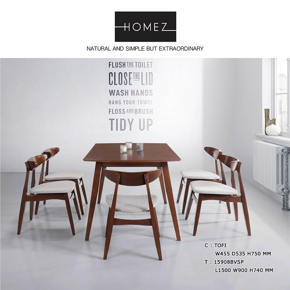 homez solid rubber wood dining table set 1 table 15908bvsp 6