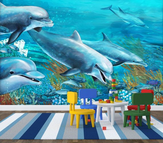 Dolphins nursery wall mural repositionable peel by for Dolphins paradise wall mural