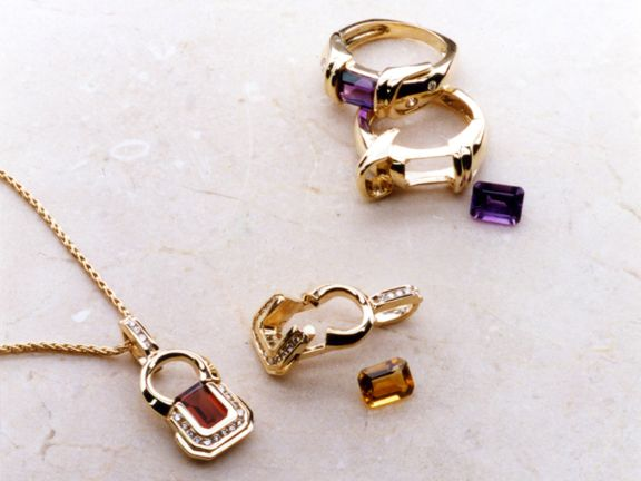 Pendant Ring And Earring Multifunctional Gems Jewelry