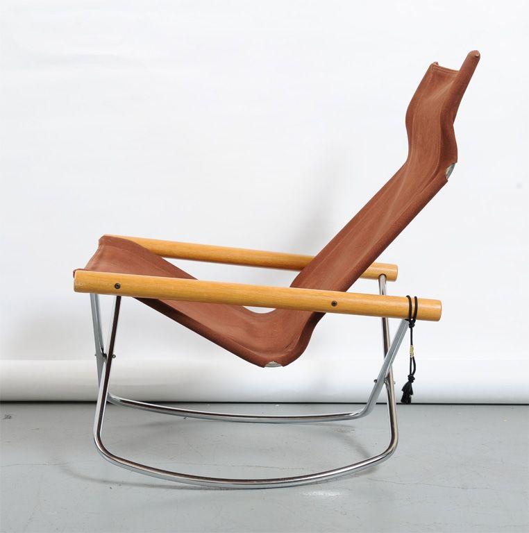 Takeshi Nii Ny Folding Rocking Chair 1stdibs Com Rocking Chair Folding Rocking Chair Patterned Chair