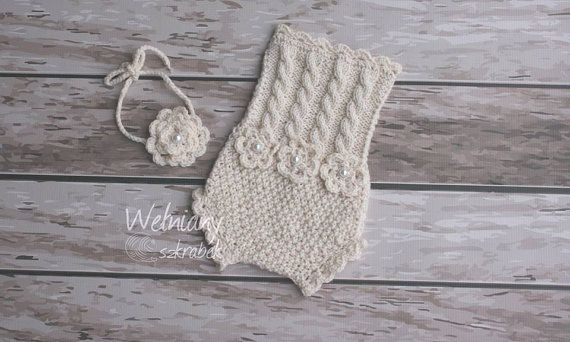 Newborn Knit outfit for girls,newborn girls  set, creamy,knit romper,overalls ecru creamy,newborn photo props,girls photo props,knitted set