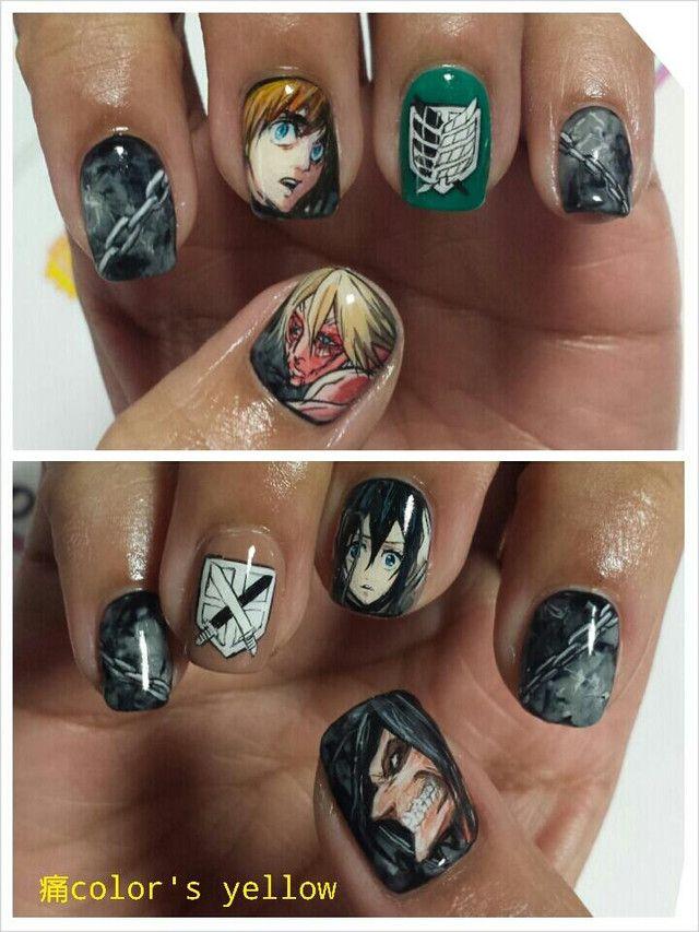 Otaku Nail Salon Shows Off Amazing Kill La Kill Work Anime Nails Attack On Titan Nail Art