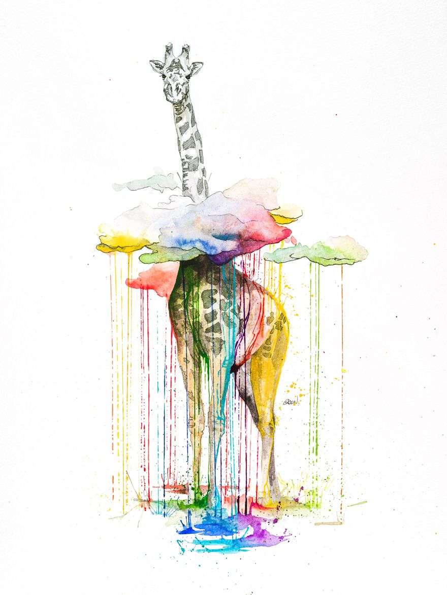 Quiet Animals In Loud Watercolors Inspiration Art Art De Girafe