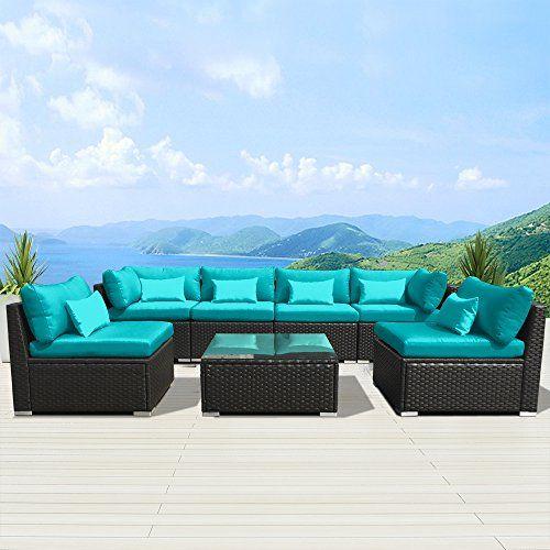 Modenzi Outdoor Sectional Furniture Espresso Brown Wicker Sofa Set