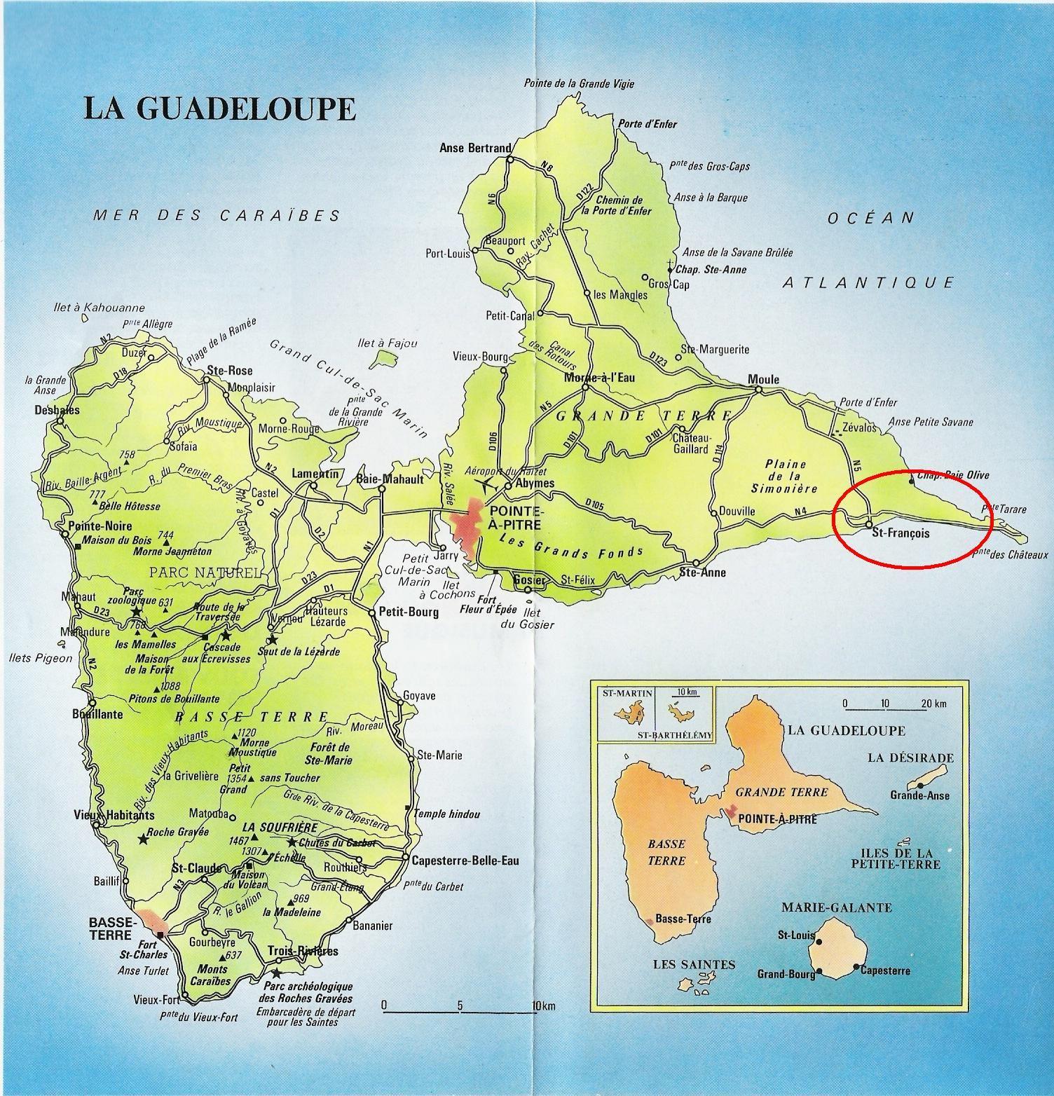 Carte Du Monde Guadeloupe.Carte Routiere De La Guadeloupe Carte Du Monde