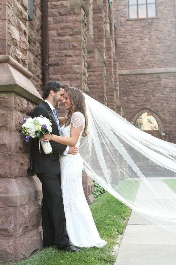 108 Inch Clic Simple Plain Sheer Cathedral Veil Single Tier Wedding Bridal White Diamond Light Ivory Blush Oyster