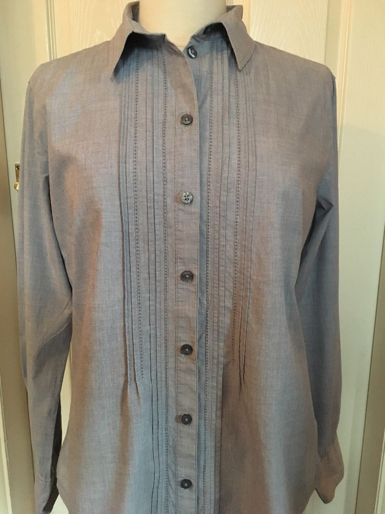 Tom Tailor Grey Pin Tucked Long Sleeve Cotton Shirt Blouse Size 14 (42)   fashion  clothing  shoes  accessories  womensclothing  tops (ebay link) a3f95095f