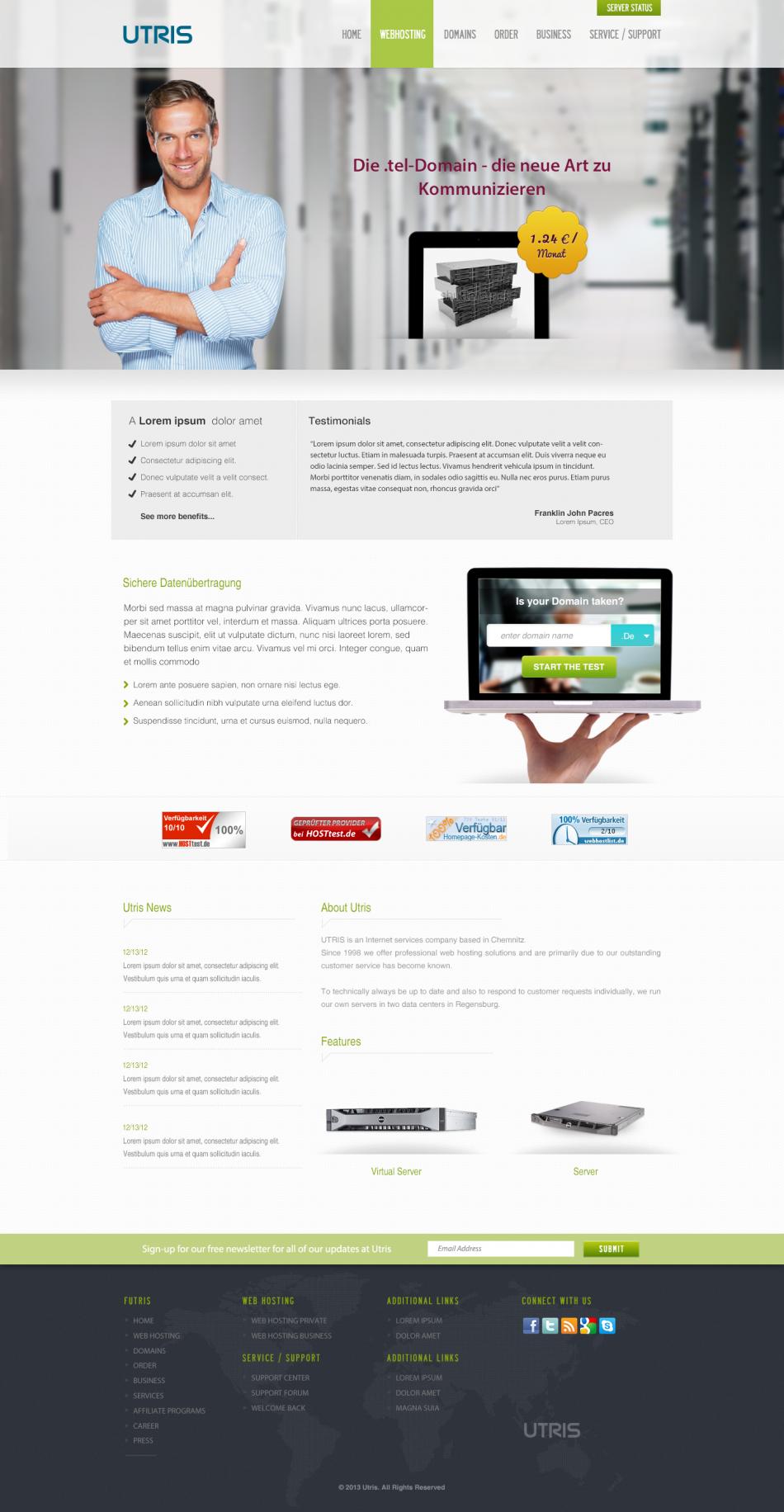 UTRIS - A Free Web Hosting PSD Website Template, #Free, #Hosting ...