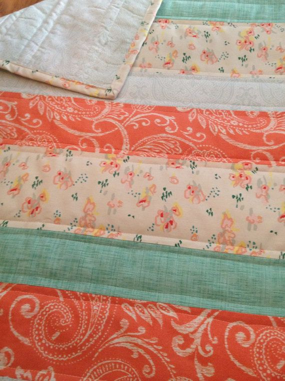 Touch of Vintage Baby Quilt - lace, coral, peach, mint, blue ... : vintage baby quilt patterns - Adamdwight.com