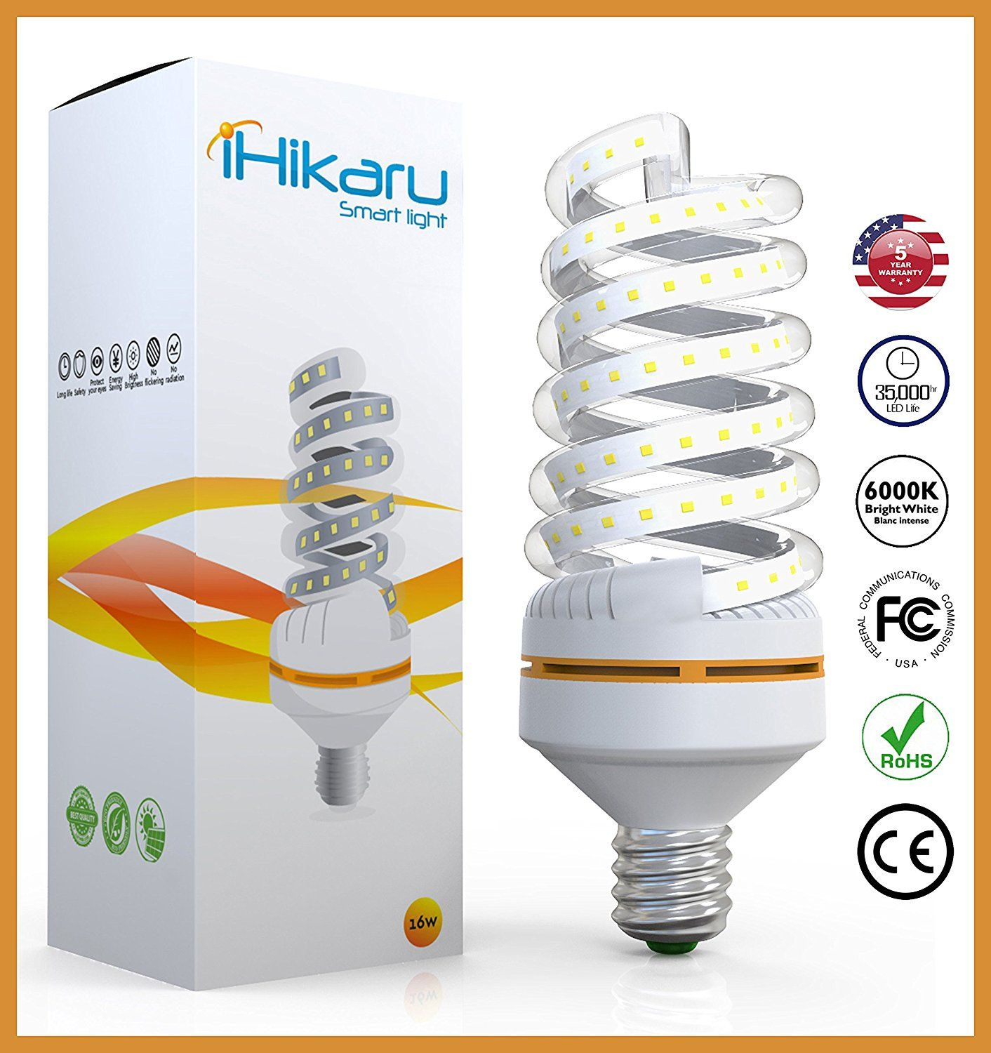 Ihikaru Led Light Bulb New Spiral Corn 90 Energy Saving 30 Watt Equivalent 250 Watt Daylight White Up To 6000k No Radiati Led Light Bulb Led Lights Light Bulb
