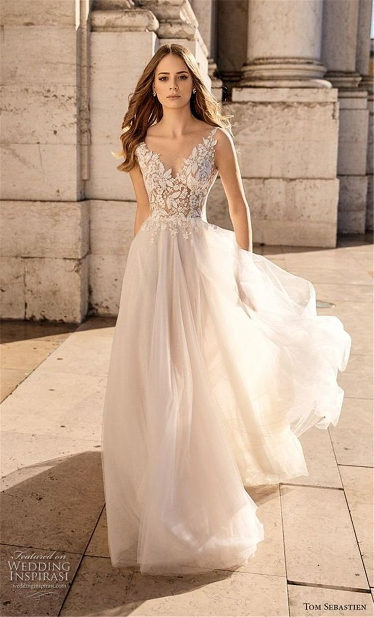 Elegant Sexy V Neck Princess Wedding Dress
