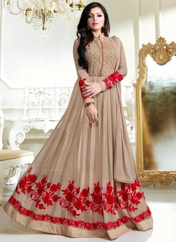 986004c1d5 Beige Faux Georgette Abaya Style Anarkali | digens | Dresses ...