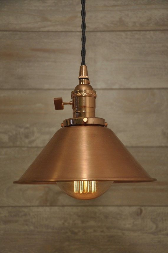 Brushed Copper Spun Cone Shade Industrial Pendant Light