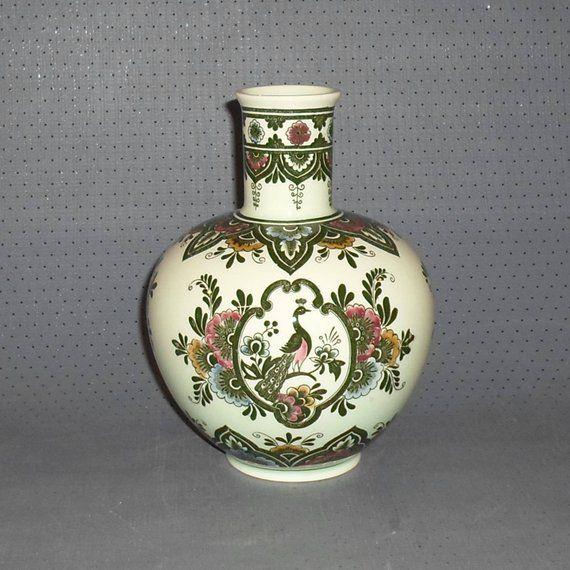 Vintage, Villeroy & Boch, Serie Paon, Kupferdruck-Unterglasur, handausgemalt, Prägestempel 4118, Porzellan Blumenvase, Geschenkidee,
