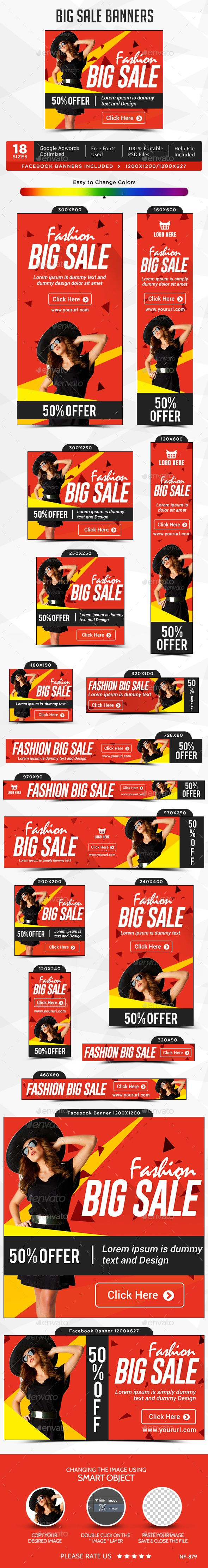 Big Sale Banners — Photoshop PSD #Google adwords banner #banner pack • Avail…
