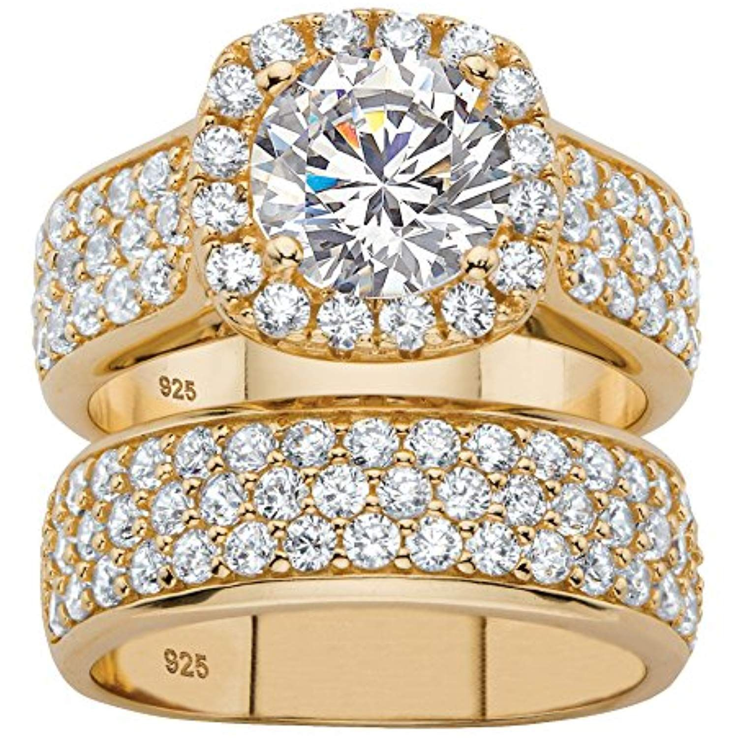 White Cubic Zirconia 14k Gold over .925 Silver 2Piece