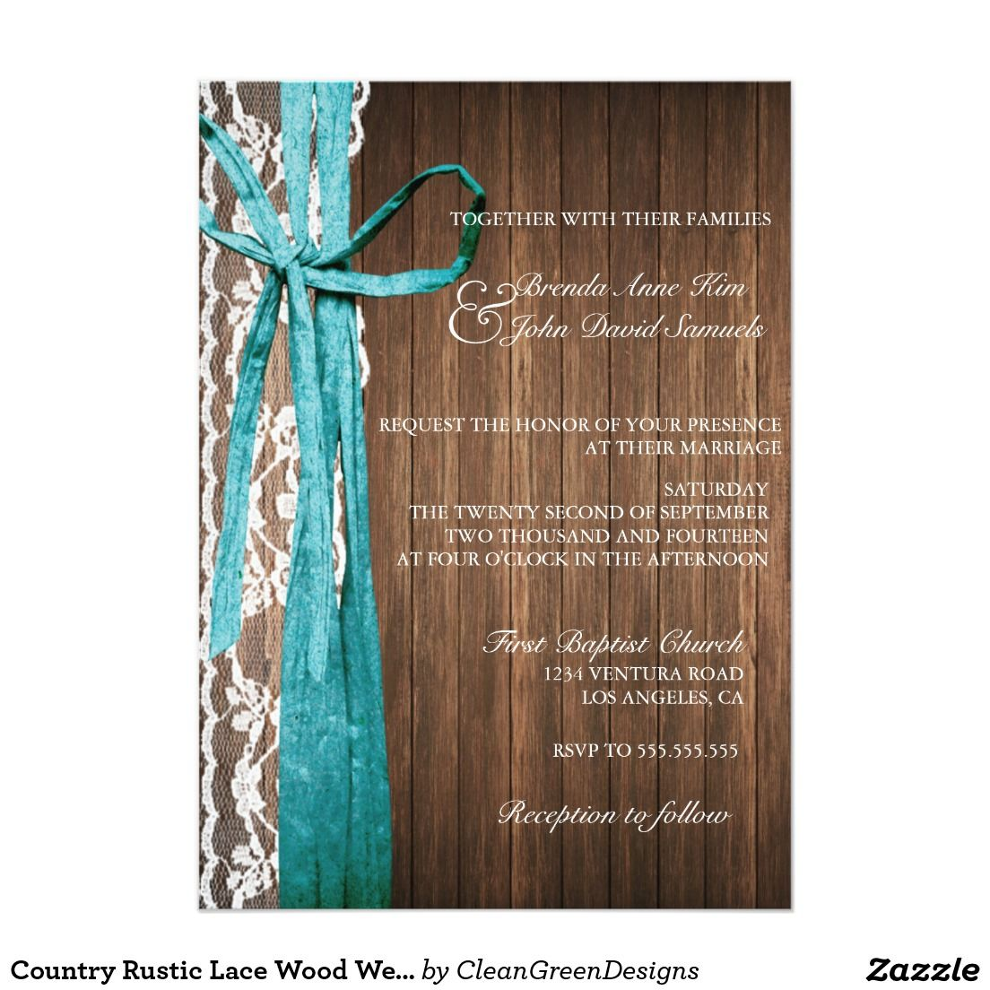 Wood Wedding Invites: Country Rustic Lace Wood Wedding Invitation