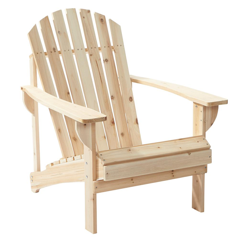 Hampton Bay Unfinished Stationary Wood Outdoor Adirondack Chair (2 ...